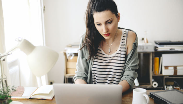 Woman sitting desk